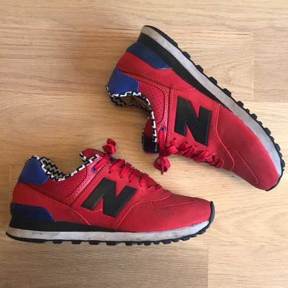 brand new e95d3 9f57a New Balance 564 Women's Red Blue Black Sneakers